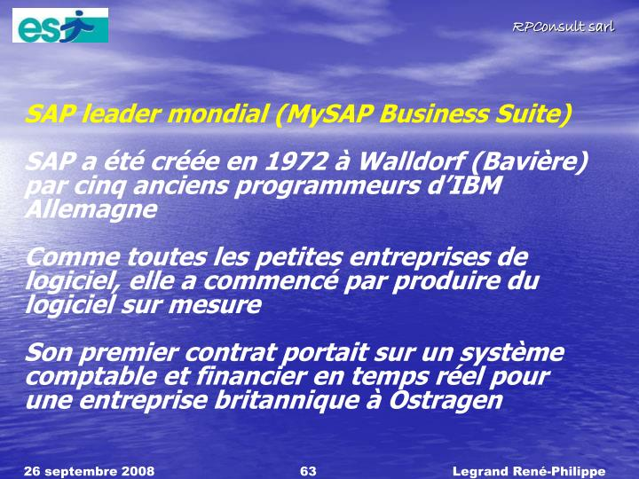 SAP leader mondial (MySAP Business Suite)