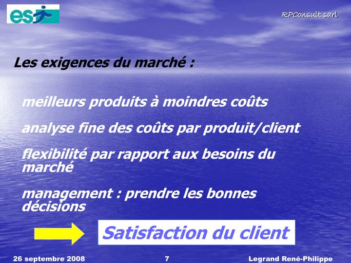 Les exigences du march :