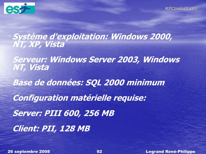 Systme d'exploitation: Windows 2000,
