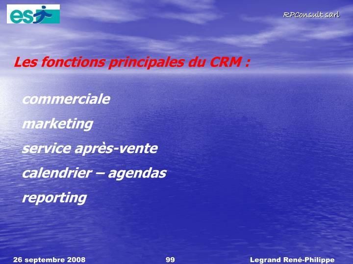 Les fonctions principales du CRM :