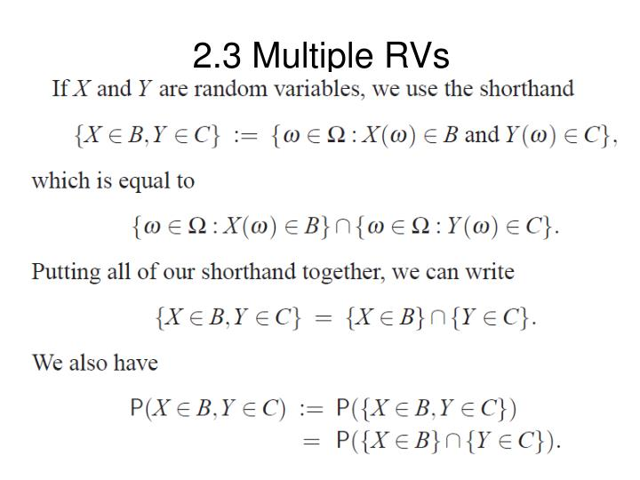 2.3 Multiple RVs