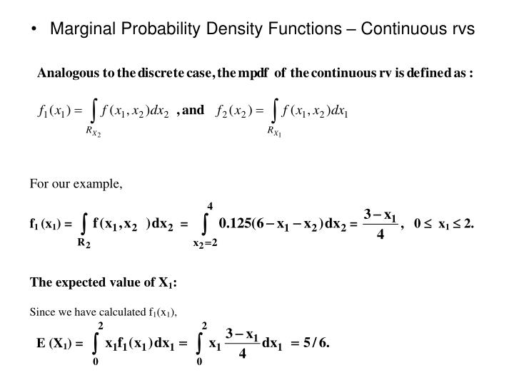 Marginal Probability Density Functions – Continuous rvs