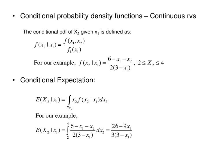 Conditional probability density functions – Continuous rvs