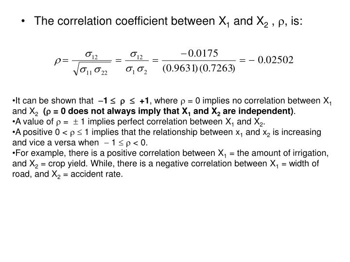 The correlation coefficient between X