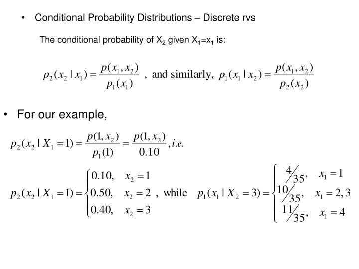 Conditional Probability Distributions – Discrete rvs
