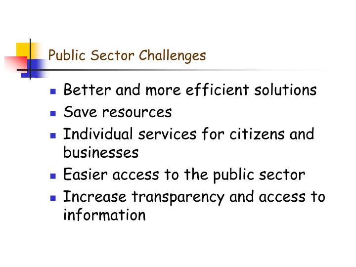 Public sector challenges