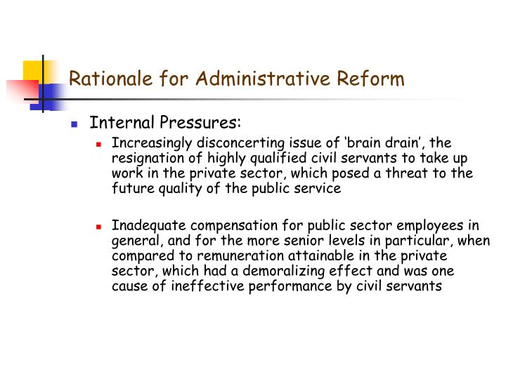 Rationale for Administrative Reform