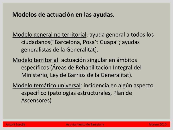 Modelos de actuación en las ayudas.