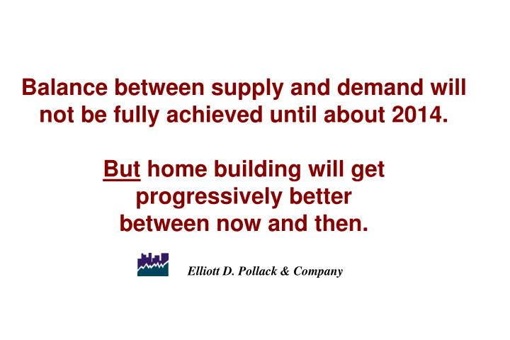 Balance between supply and demand will not be fully achieved until about 2014.