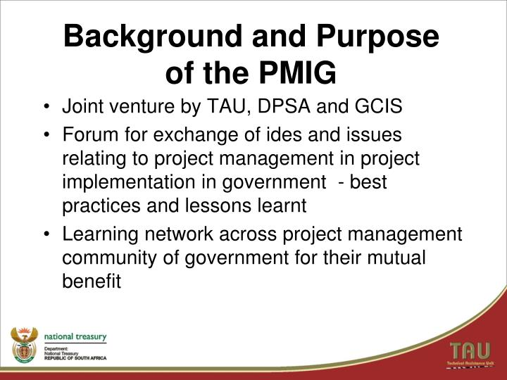Background and purpose of the pmig