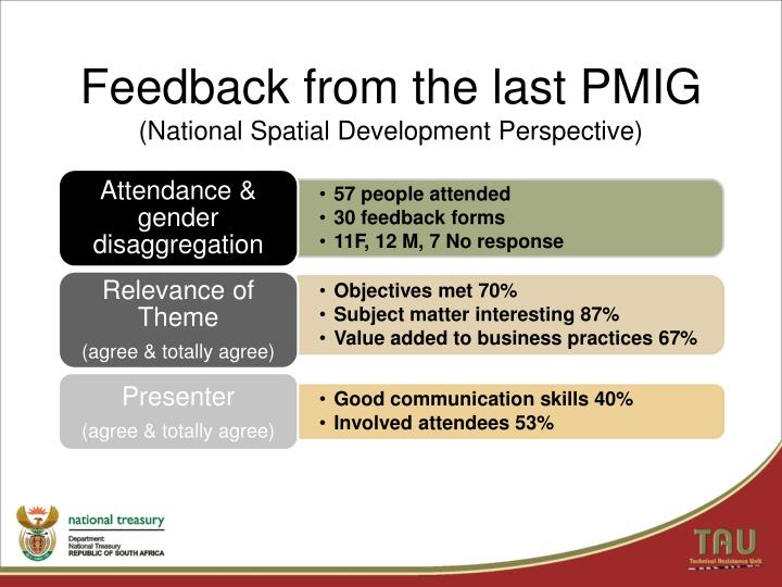 Feedback from the last PMIG