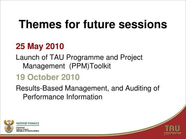 Themes for future sessions