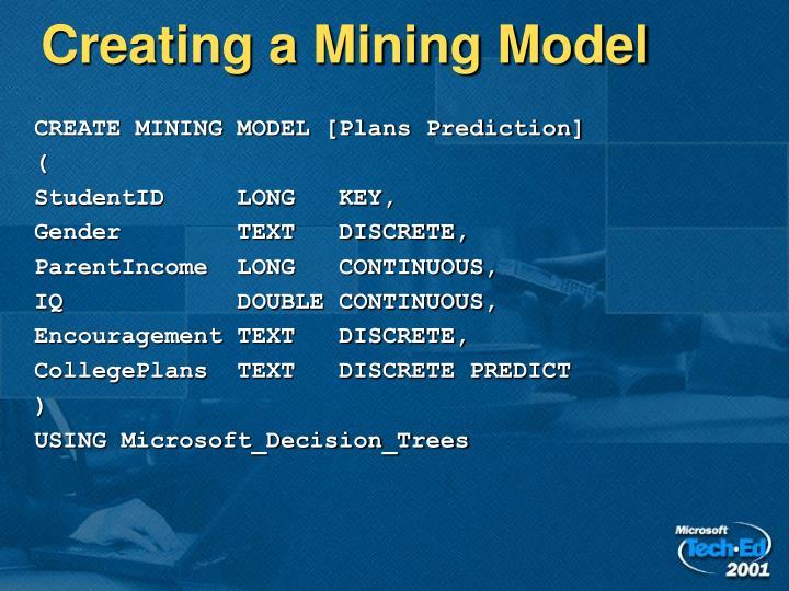 Creating a Mining Model