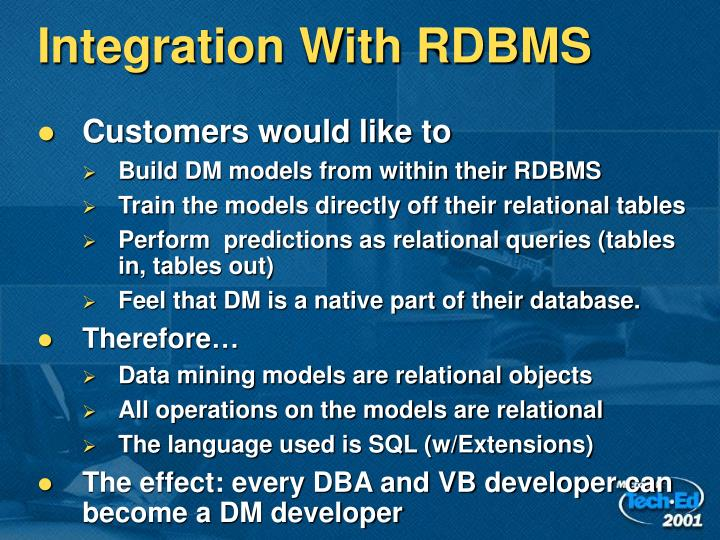 Integration With RDBMS