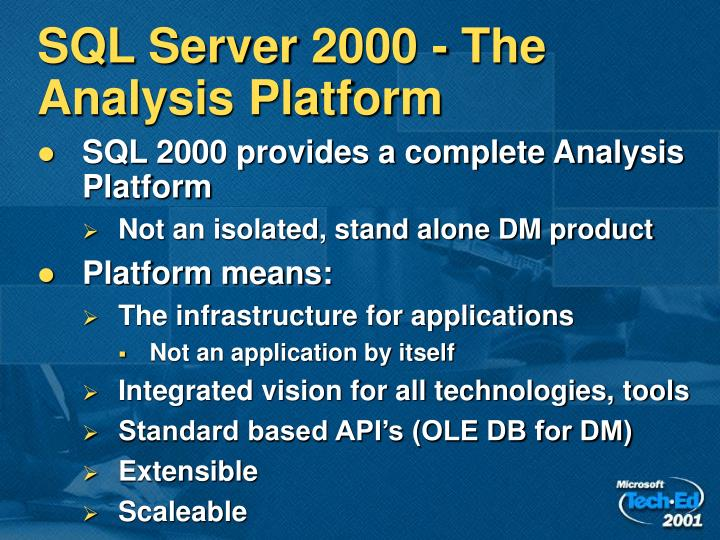 SQL Server 2000 - The Analysis Platform