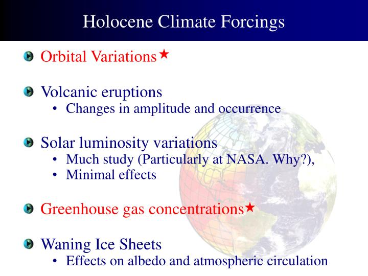 Holocene Climate Forcings
