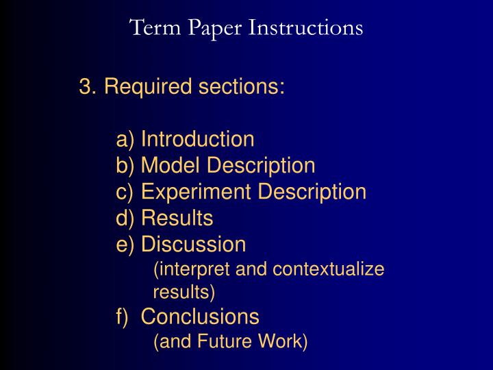 Term Paper Instructions