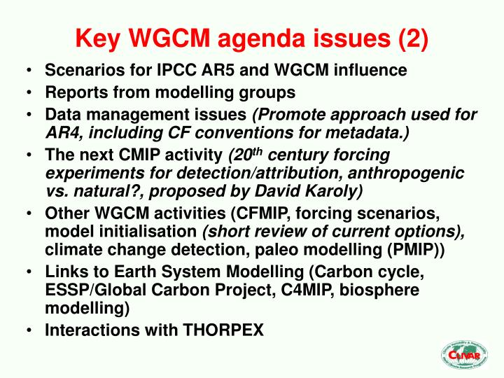 Key WGCM agenda issues (2)