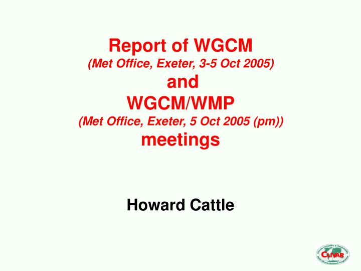 Report of wgcm met office exeter 3 5 oct 2005 and wgcm wmp met office exeter 5 oct 2005 pm meetings