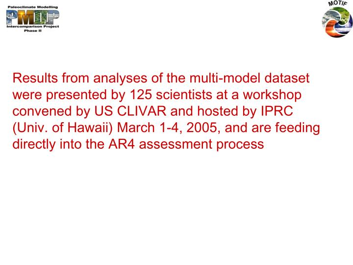 Results from analyses of the multi-model dataset were presented by 125 scientists at a workshop convened by US CLIVAR and hosted by IPRC (Univ. of Hawaii) March 1-4, 2005, and are feeding directly into the AR4 assessment process