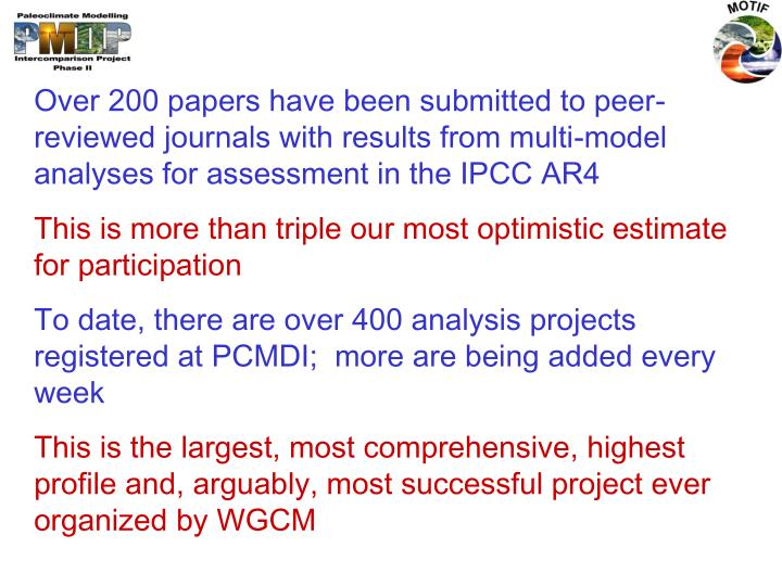 Over 200 papers have been submitted to peer-reviewed journals with results from multi-model analyses for assessment in the IPCC AR4