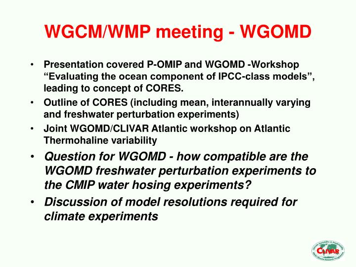 WGCM/WMP meeting - WGOMD