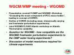 wgcm wmp meeting wgomd