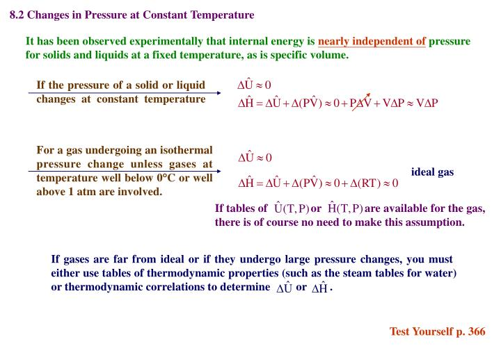 8.2 Changes in Pressure at Constant Temperature