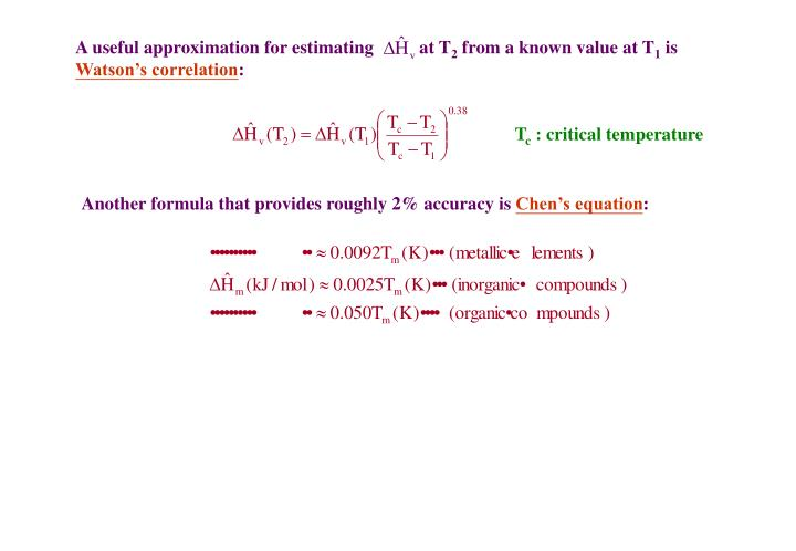 A useful approximation for estimating          at T