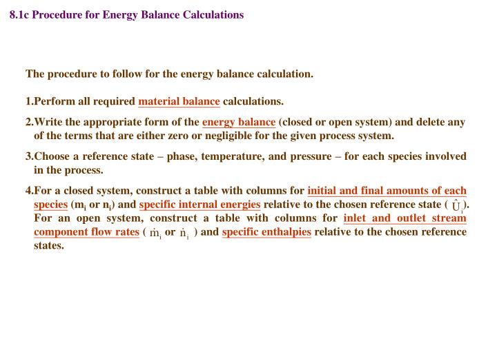 8.1c Procedure for Energy Balance Calculations
