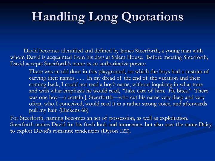 Handling Long Quotations
