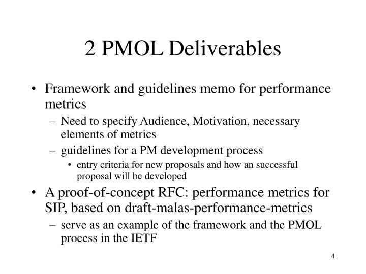 2 PMOL Deliverables