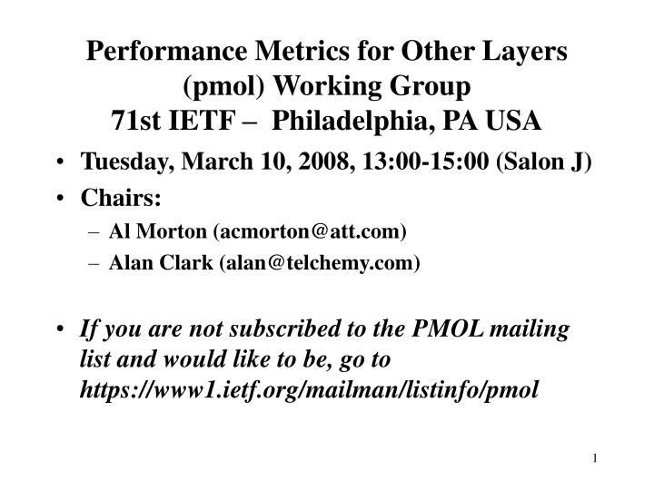 performance metrics for other layers pmol working group 71st ietf philadelphia pa usa