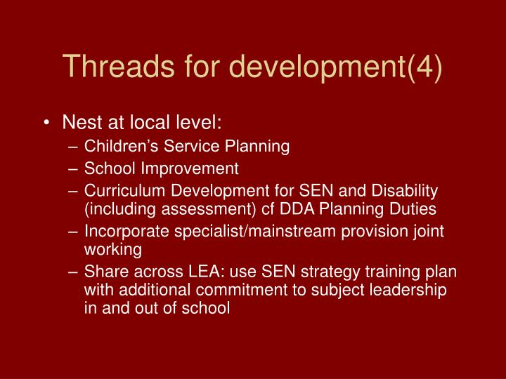 Threads for development(4)