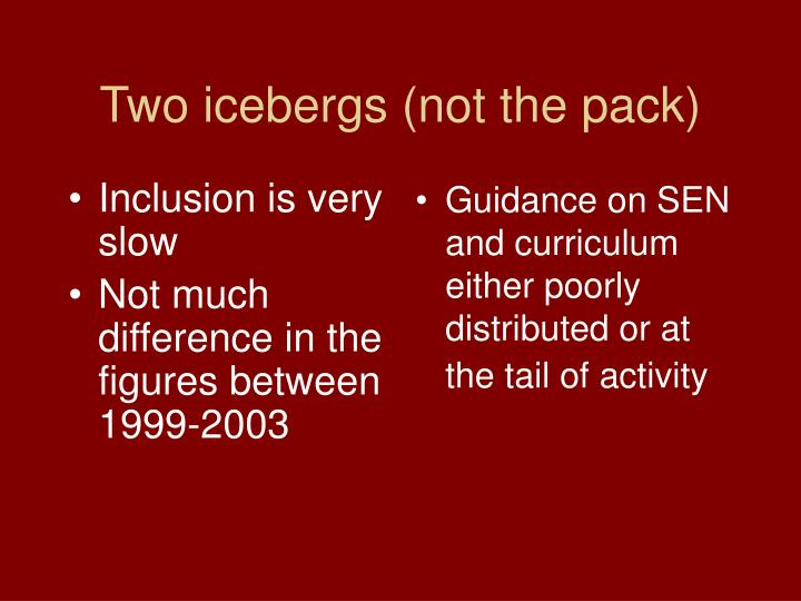 Two icebergs (not the pack)