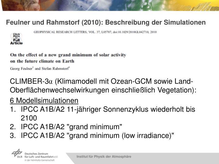 Feulner und Rahmstorf (2010): Beschreibung der Simulationen
