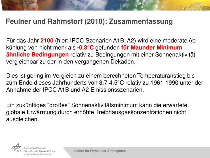 Feulner und Rahmstorf (2010): Zusammenfassung