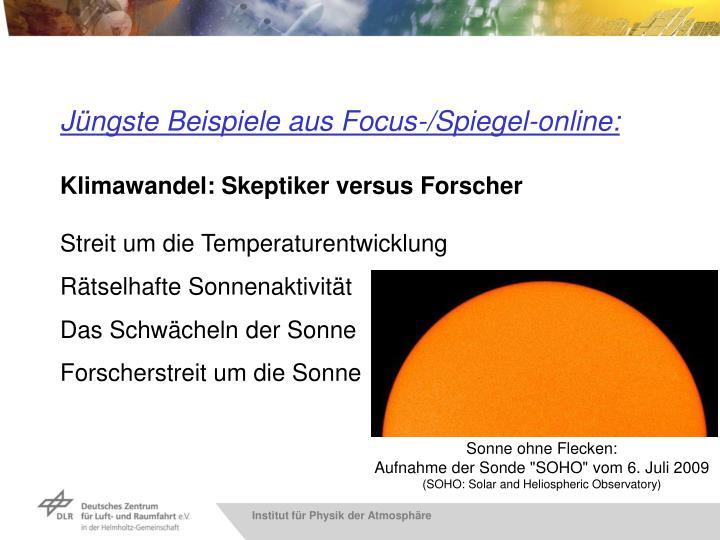 Jüngste Beispiele aus Focus-/Spiegel-online: