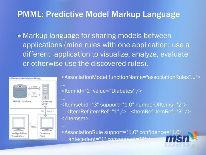 PMML: Predictive Model Markup Language
