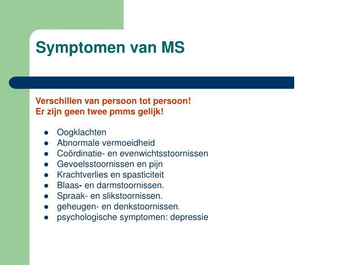 Symptomen van MS