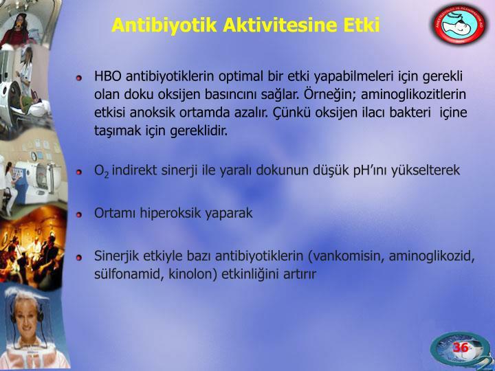 HBO antibiyotiklerin optimal bir etki yapabilmeleri için gerekli olan doku oksijen basıncını sağlar. Örneğin; aminoglikozitlerin etkisi anoksik ortamda azalır. Çünkü oksijen ilacı bakteri  içine taşımak için gereklidir.