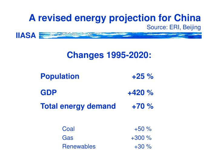A revised energy projection for China
