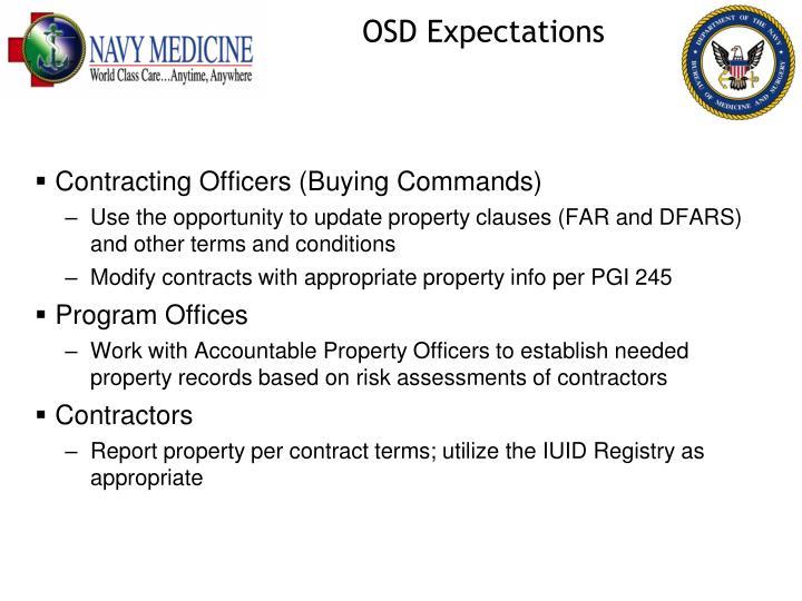 OSD Expectations