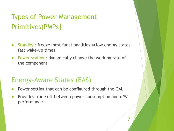 Types of Power Management Primitives(PMPs
