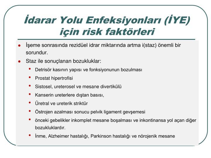 darar Yolu Enfeksiyonlar (YE) iin risk faktrleri