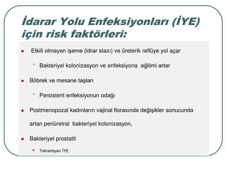 darar Yolu Enfeksiyonlar (YE) iin risk faktrleri: