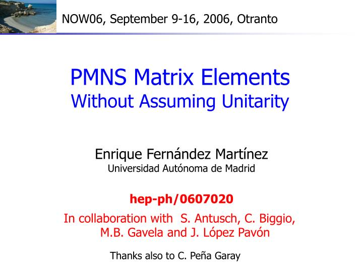 Pmns matrix elements without assuming unitarity