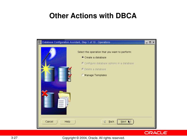 Other Actions with DBCA