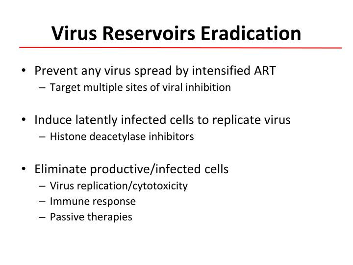 Virus reservoirs eradication