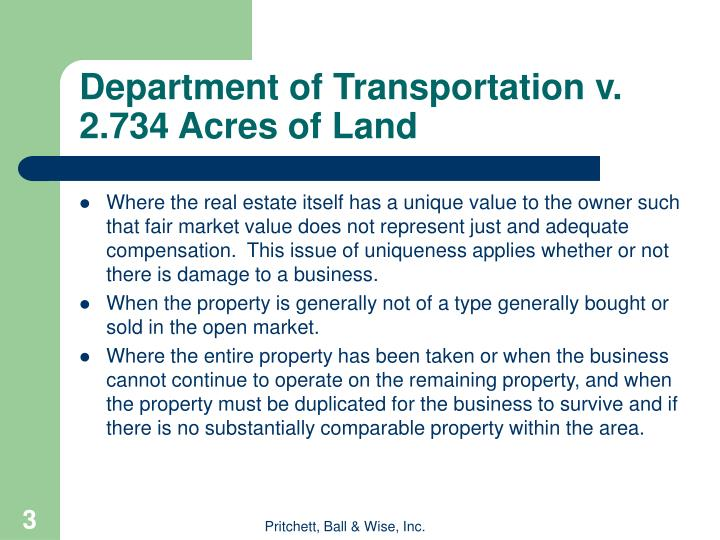 Department of Transportation v. 2.734 Acres of Land